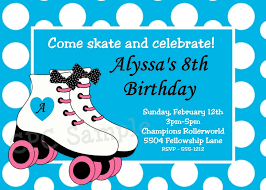 roller skating party invitations with blue and white dots