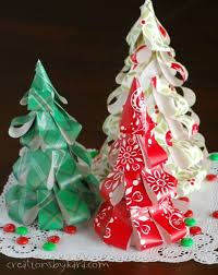 paper christmas decorations how to make wrapping paper christmas trees