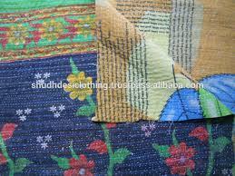 Indian Inspired Bedding Authentic Vintage Kantha Quilt Throw Handmade Ralli Gudari Sari