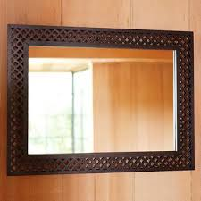 wood cutout wall mirror