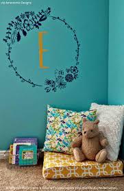 frames vinyl wall decals wallternatives floral frame wall decal monogram initial sticker wallternatives