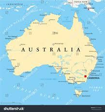 map of australia political australia political map capital canberra national stock vector