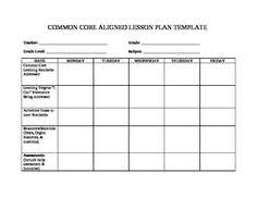 pre made 1st grade common core lesson plan template has reading