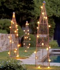 unique gold metal outdoor lighting ideas for exclusive garden with