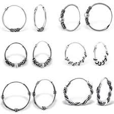 silver sleeper earrings 925 sterling silver bali hoop sleeper earrings hoops 10 30mm
