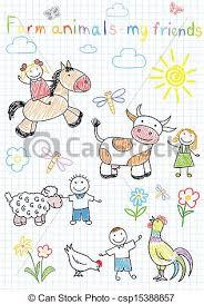 clipart vector of vector sketches happy children u0027s and farm