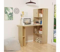 combiné bureau bibliothèque vidaxl bureau avec bibliothèque 114x60x145 cm chêne table d