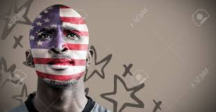 Flag Face Digital Composite Of 3d Portraiture Of Man With American Flag Face