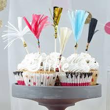 cupcake tassle toppers tissue paper cocktail sticks cake