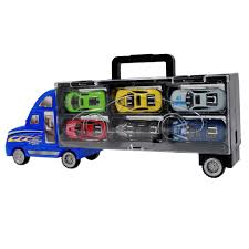 car carrier truck toy truck auto hauler with 6 colored diecast race cars