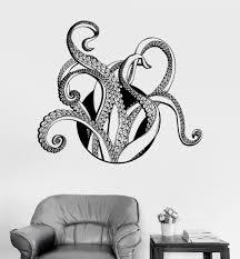 octopus decor vinyl wall decal tentacles octopus kraken nautical marine decor