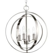 progress lighting equinox 4 light polished nickel pendant