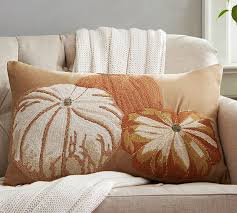 Pottery Barn Kilim Pillow Cover Pumpkin Embroidered Lumbar Pillow Cover Pottery Barn