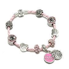 pandora leather bracelet pink images Pink braided leather charm bracelet sweet mother clasp snake jpg