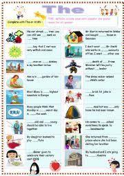 esl kids worksheets definite article the