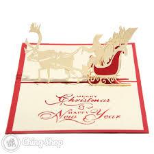 reindeer santa u0026 sleigh 3d pop up christmas card 3 95 3d pop