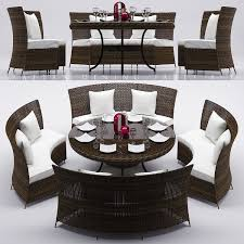 rattan dining table set 2 3d model cgtrader