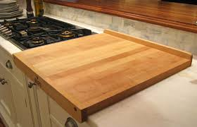 arts craft kitchen decor with flat grain cutting board countertop