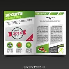 sport magazine template with report vector free download