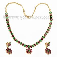 emerald gold necklace jewelry images Gold necklace earring set with ruby emerald 22k gold palace jpg