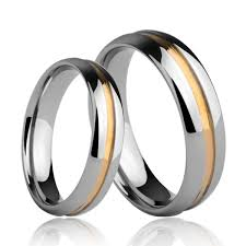 about tungsten rings images Tungsten rings for couples with gold groove in mirror finish jpg