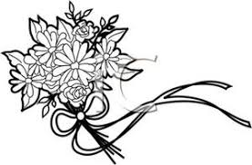 wedding flowers clipart illustration of a line bouquet of wedding flowers
