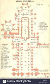 Wells Cathedral Floor Plan Somt Wells Cathedral 1924 Vintage Map Stock Photo Royalty Free