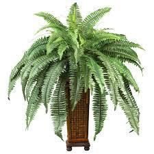 silk plants boston fern w decorative wood vase silk plant silk specialties