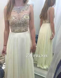 light yellow prom dresses a line round neck rhinestone long light yellow prom dress formal dres