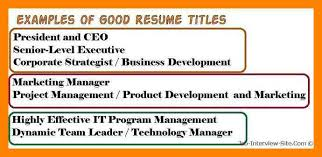 8 what is a resume title job apply form