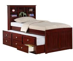 Captain Bed With Storage Manhattan Twin Size Bookcase Captains Trundle Bed Cappuccino