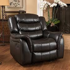 amazon com merit black leather recliner glider chair kitchen