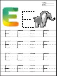 e for elephant letter writing pages for preschoolers