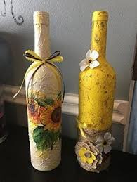 Home Decor Glass Decorated Wine Glass Bottles Set Decoupage Craft Glass Bottles Art