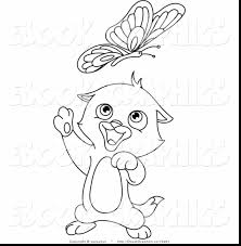 impressive kitten chasing butterflies coloring pages with kitten