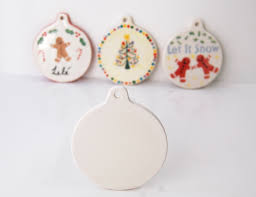 flat bauble ceramic pottery ornament