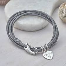 leather bracelet with silver charm images Personalised sterling silver charm and leather wrap bracelet jpg