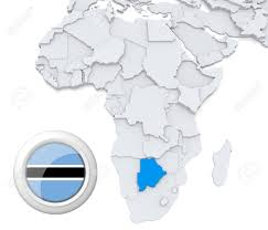Botswana Flag 3d Modeled Map Of Africa With Highlighted State Of Botswana With
