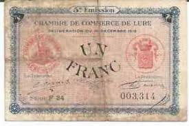 chambre de commerce haute saone billet 1 fr chambre de commerce de lure haute saône 1919 ebay