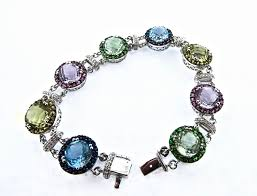 multi colored gold bracelet images 14k white gold multi colored gemstones and diamond bracelet jpg