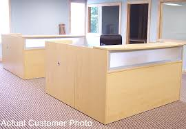 L Shaped Reception Desk Counter Maple Reception Desk For 1299 In Stock Free Shipping