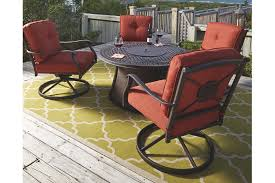 burnella 5 piece outdoor fire pit chat set ashley furniture