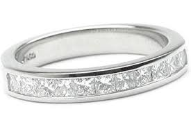 channel set wedding band platinum channel set wedding band 11 princess cut diamonds 0 63