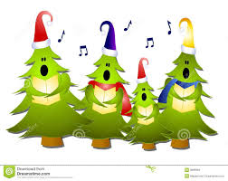clip art illustration of a group of christmas tree carolers