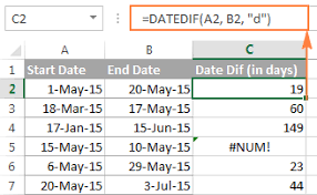 excel datedif calculating date difference in days weeks months