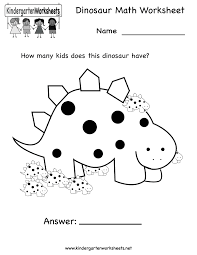 Math Worksheets Kindergarten Free Printable Dinosaur Math Worksheet For Kindergarten