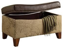 storage ottoman map jute fabric vintage style brown bonded trim