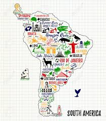 Soth America Map by Typography Poster South America Map South America Travel Guide