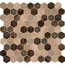 Hexagon Backsplash Tile by Ms International Kensington Hexagon 12 In X 12 In X 8 Mm Glass