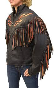 ladies leather motorcycle jacket western orange flame fringe leather jacket item lj259 leather